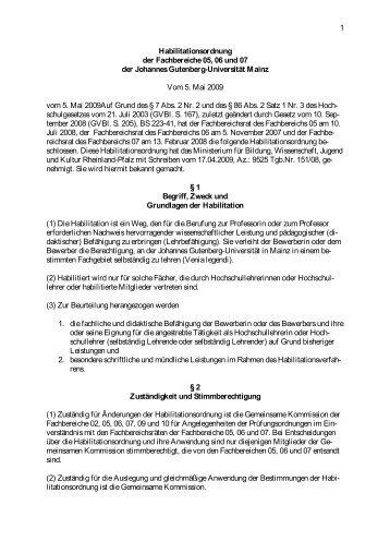 1 Habilitationsordnung der Fachbereiche 05, 06 und 07 der ...