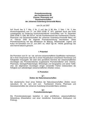 Promotionsordnung des Fachbereichs 09 Chemie, Pharmazie und ...