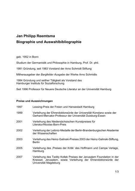 Biographie und Auswahlbibliographie Jan Philipp Reemtsma