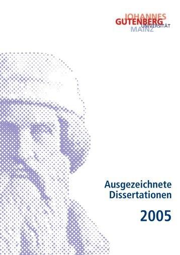 Ausgezeichnete Dissertationen - Johannes Gutenberg-Universität ...
