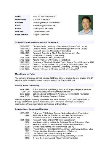 Name Prof. Dr. Matthias Neubert Department Institute of Physics ...