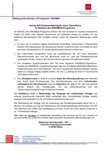 Abteilung Internationales • EU-Programme • ERASMUS Antrag auf ...
