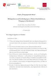 Übergangsstudie: Die wichtigsten Ergebnisse. - Stadt Mainz