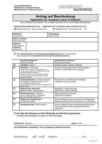 Antrag auf Beurlaubung - Universität Mannheim