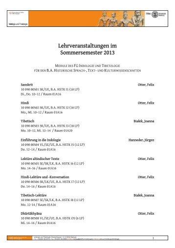 Lehrveranstaltungen im Überblick (SS 2013) - uni-marburg