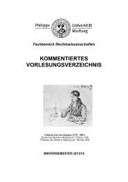 Vorlesungsverzeichnis WS 2013/14 - Philipps-Universität Marburg