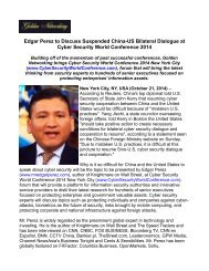 Edgar Perez to Discuss Suspended China-US Bilateral Dialogue at Cyber Security World Conference 2014