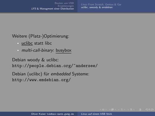 Linux auf einem USB Stick - Mathematisches Institut - GWDG