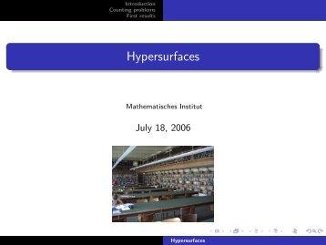 Hypersurfaces - Mathematisches Institut