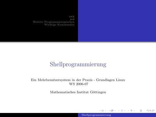 Shellprogrammierung - Mathematisches Institut