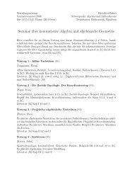 Seminar über kommutative Algebra und algebraische Geometrie
