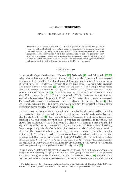 Glanon groupoids - Mathematisches Institut - GWDG