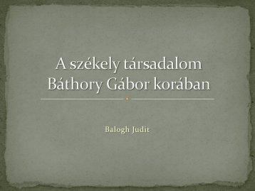 A Székely társadalom Báthory Gábor idején