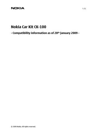 Nokia Car Kit CK-100 - Compatibility information as