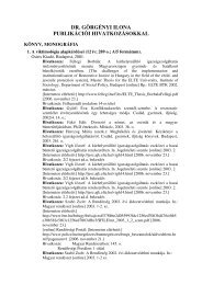 dr. görgényi ilona publikációi hivatkozásokkal - Miskolci Egyetem