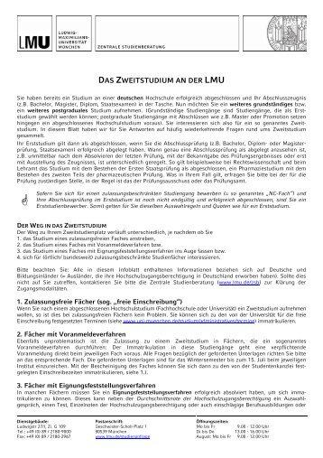 Weitere Informationen zum Zweitstudium - Ludwig-Maximilians ...