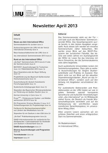 Newsletter April 2013 - LMU