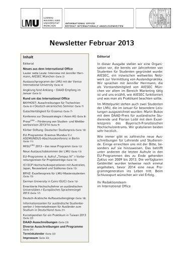 Newsletter Februar 2013
