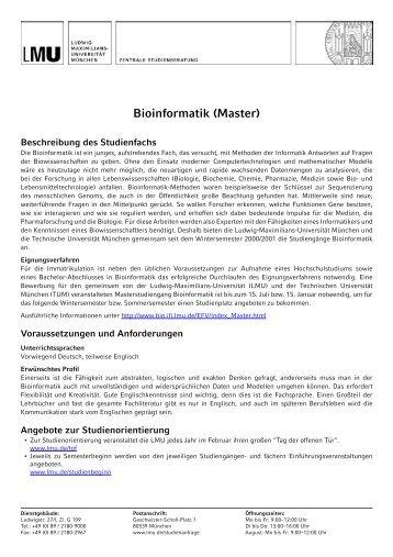 Bioinformatik (Master) - LMU München