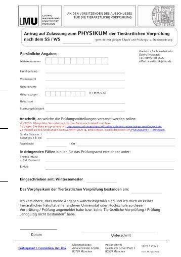 Anmeldeformular Physikum - LMU