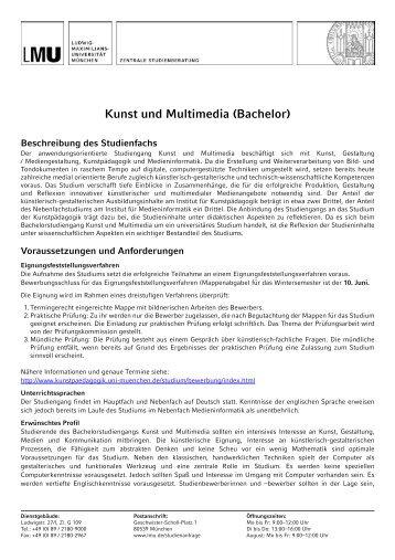 Kunst und Multimedia (Bachelor) - LMU München