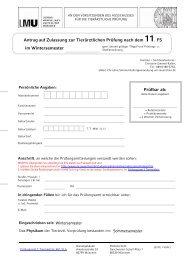 Antrag auf Zulassung zur Tierärztlichen Prüfung nach dem 11. FS im ...