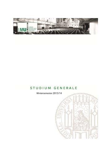 Studium Generale Broschüre Wintersemester 2013_14 - LMU