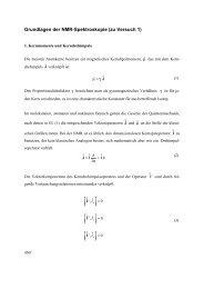 Grundlagen der NMR-Spektroskopie (zu Versuch 1)
