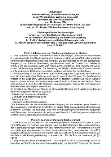 fachspezifischer Anhang - Westfälische Wilhelms-Universität Münster