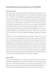 Lebensfülle (Vierter Sonntag der Osterzeit A, 15. Mai 2011)