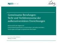 Gemeinsame Berufungen: Sicht und Verfahrensweise der ...