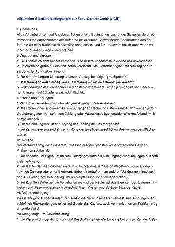 Allgemeine Geschäftsbedingungen der Focuscontrol Gmbh (AGB) I ...