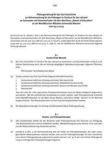 Prüfungsordnung für das Fach Geschichte zur Rahmenordnung für ...