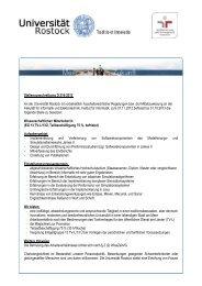 Stellenausschreibung D 216-2012 An der Universität Rostock ist ...