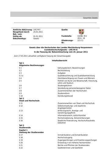 Landeshochschulgesetz Mecklenburg-Vorpommern - Universität ...