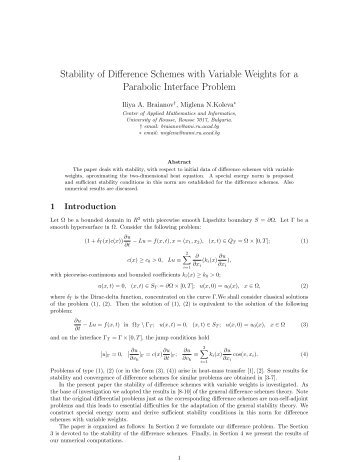 Stability of Difference Schemes with Variable Weights for a ...