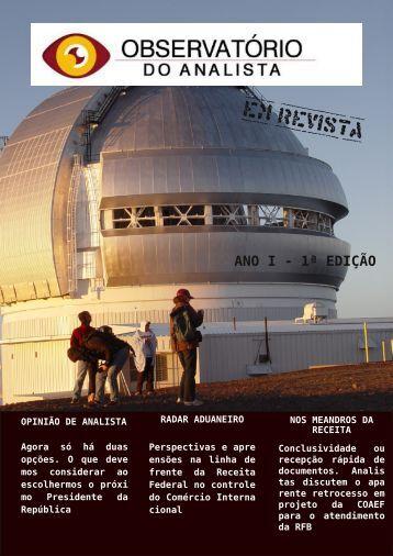 OBSERVATORIO DO ANALISTA EM REVISTA - 1 EDICAO