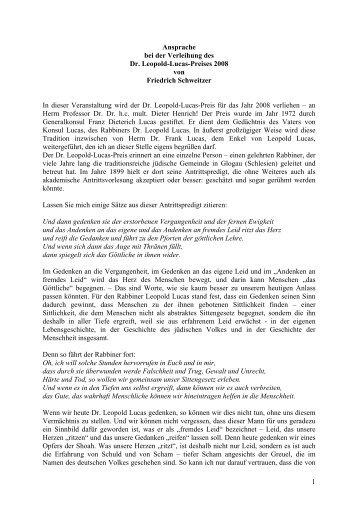 1 Ansprache bei der Verleihung des Dr. Leopold-Lucas-Preises ...