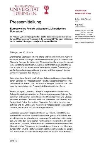 Pressemitteilung - Universität Tübingen