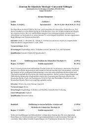 Kommentiertes Vorlesungsverzeichnis - Universität Tübingen