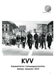 KVV Kommentiertes Vorlesungsverzeichnis Sommer Semester 2010