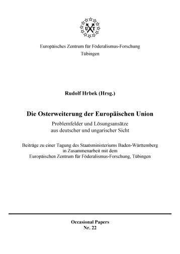 Die Osterweiterung der Euopaeischen Union (OcP 22) - Universität ...