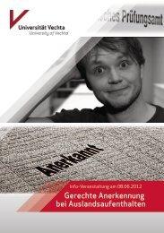 Gerechte Anerkennung bei Auslandsaufenthalten - Universität Vechta