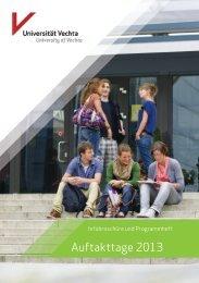 Die Infobroschüre der Auftakttage 2013 finden ... - Universität Vechta