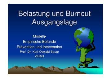 Belastung und Burnout Ausgangslage