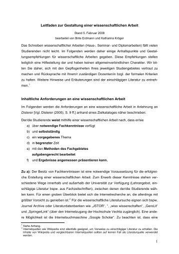 Leitfaden zur Gestaltung einer ... - Universität Vechta