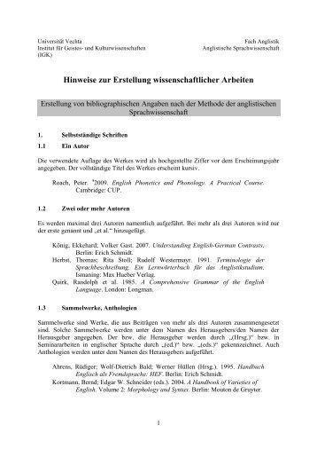 Anglistische Sprachwissenschaft - Universität Vechta