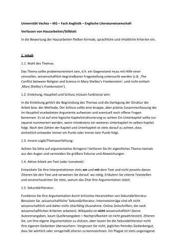 Anglistische Literaturwissenschaft - Universität Vechta