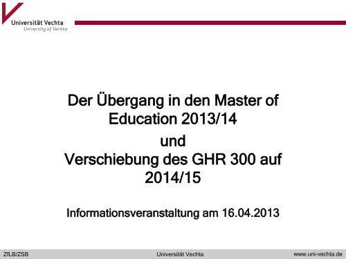 Der Übergang in den Master of Education 2013 ... - Universität Vechta