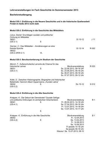 Lehrveranstaltungen im Fach Geschichte im Sommersemester 2013 ...